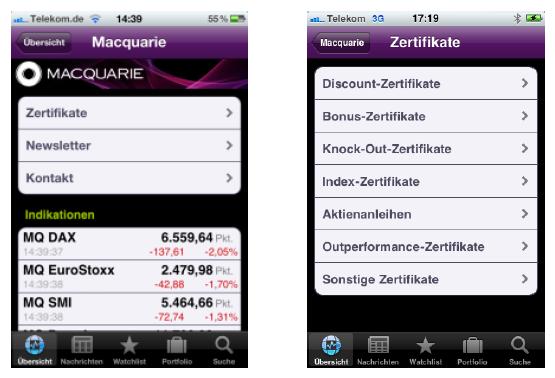 Die erste App in App (Finanzen100 und Macquarie)